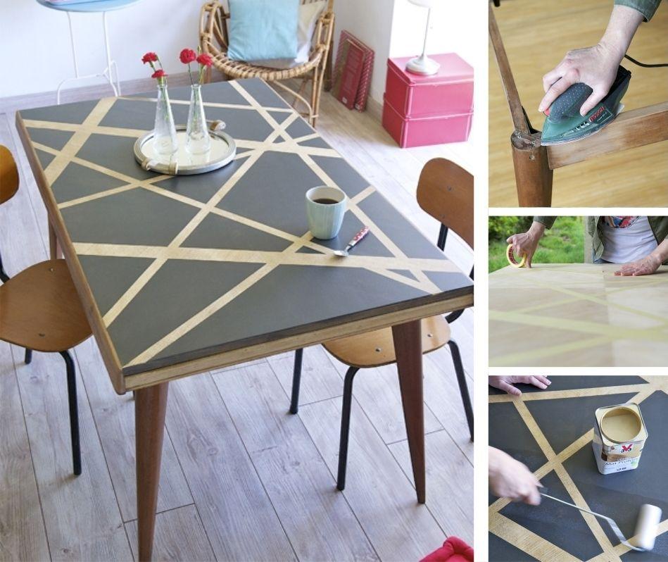relooker une table avec des effets graphiques custom pinterest mobilier de salon table et. Black Bedroom Furniture Sets. Home Design Ideas