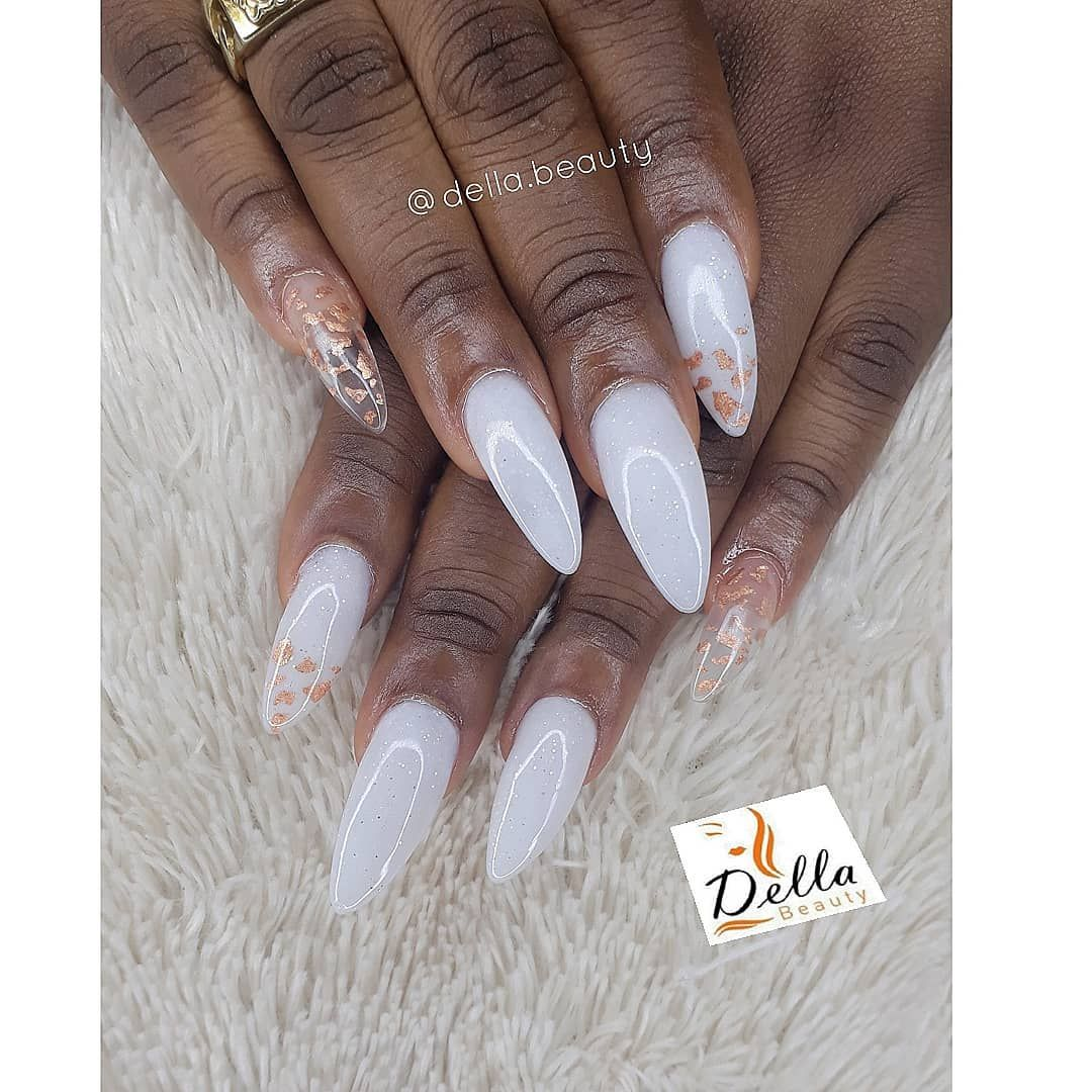 One Of My Jobs I Enjoyed Well Thanks Gwenskitchenn For Coming Through Baby That White Nails With A Touch Of Gold Foil In An White Nails Foil Nails Nails