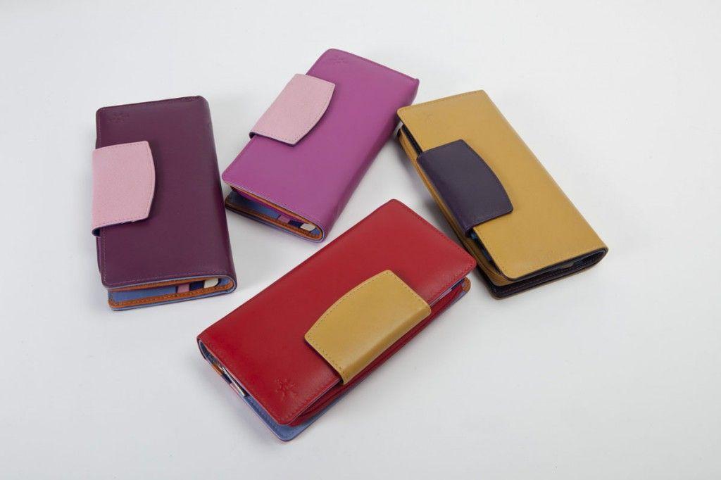 Portafoglio in pelle color block Portafoglio grande Portafoglio per donna