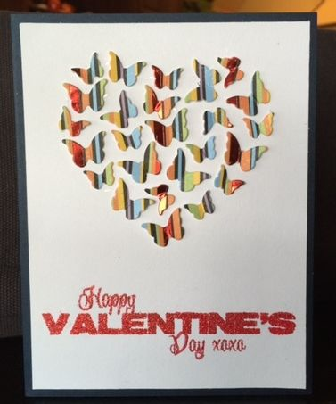 This card also uses Memory Box's Butterfly Heart die – however, this time I used my craft knife to continue cutting each of the butterflies out and placed them on a white card base. The sentiment is from Impression Obsession's Valentine Hearts set.