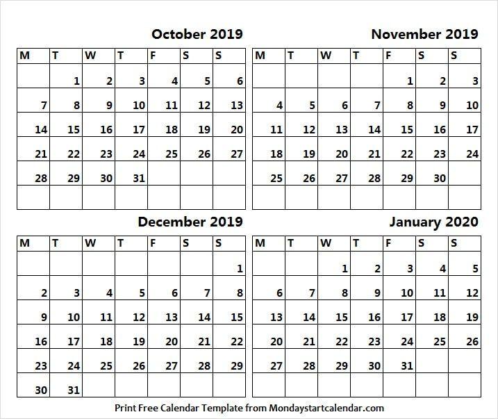 2019 October November December And 2020 January Calendar