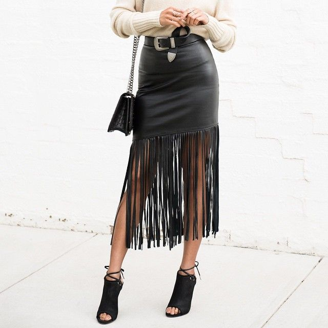 Black Leather Skirt With Fringe - Dress Ala