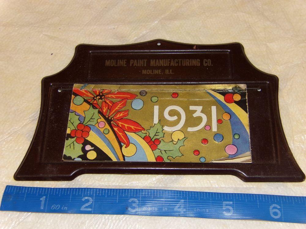 1931 Moline Paint Manufacturing Co Illinois Vintage desk Calendar