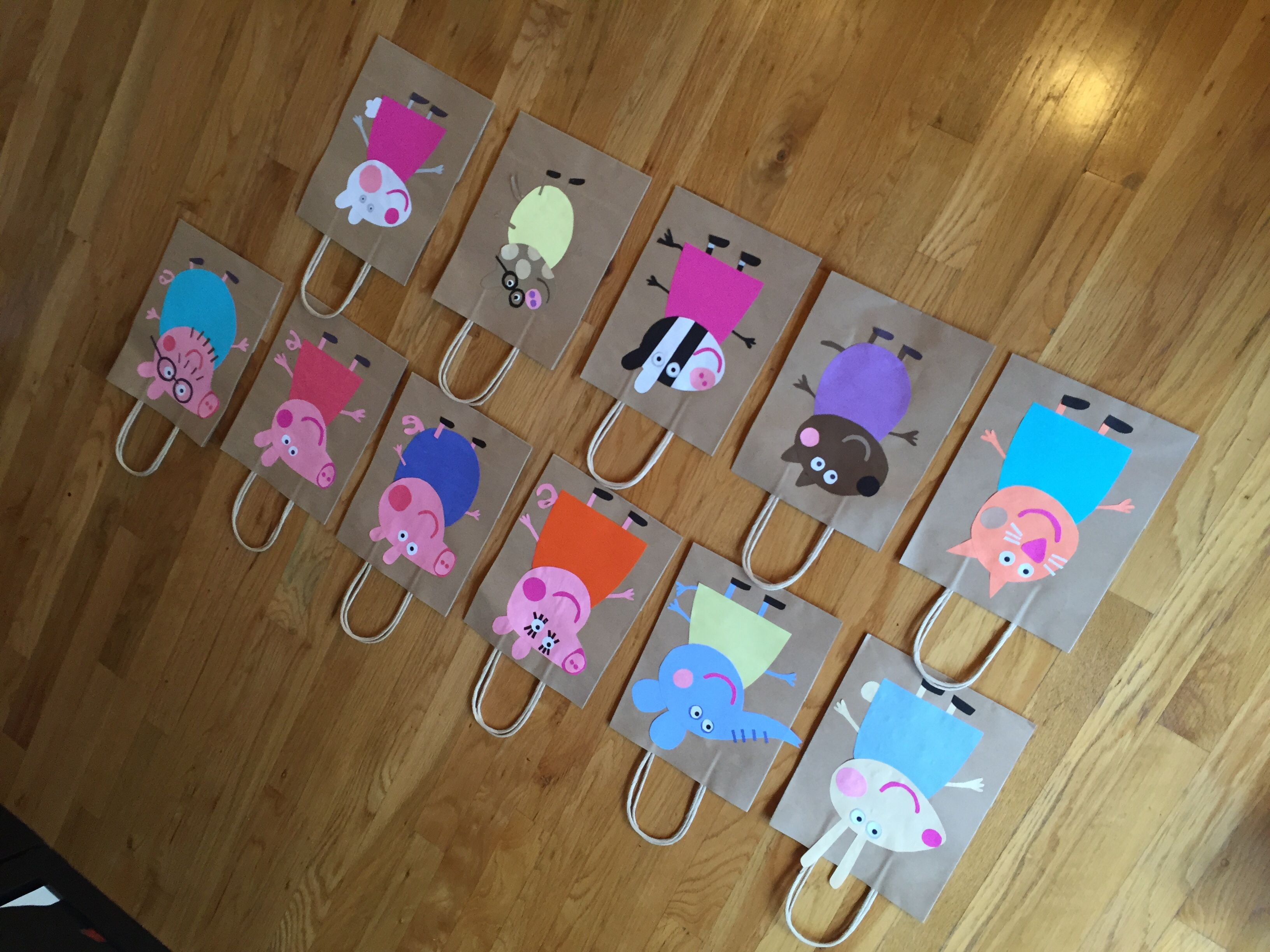 Peppa Pig Party Bags Construction paper simple brown craft bags