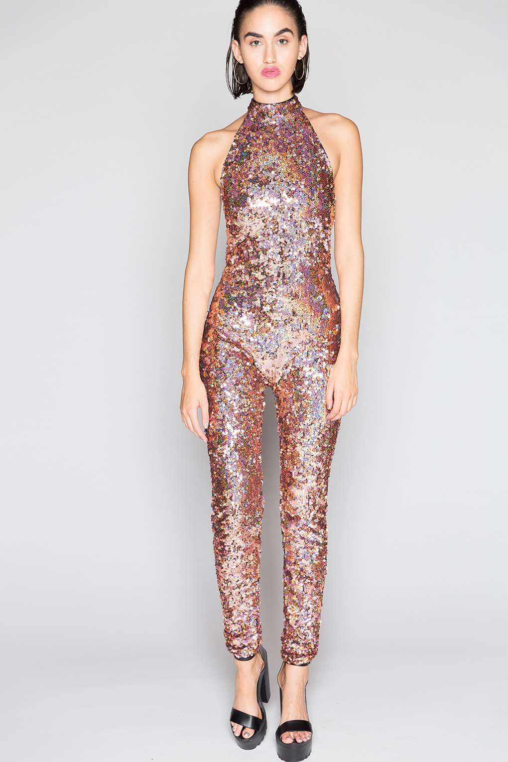 **Rose Sequin High Neck Catsuit by Jaded London - Playsuits and Jumpsuits -  Clothing - Topshop Europe