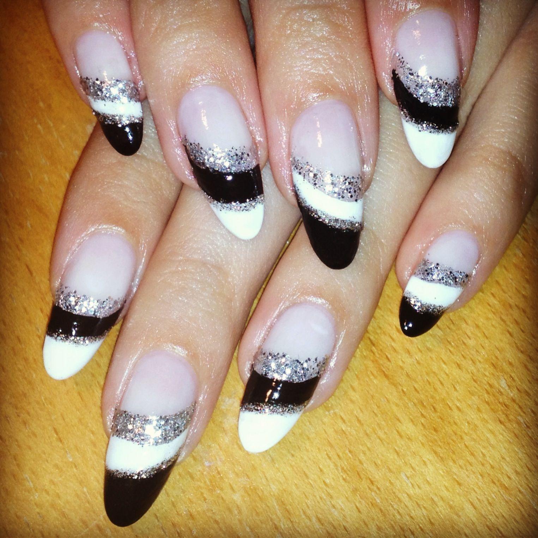 black nails, almond shape, glitter nails, elegant nail art, natural nails