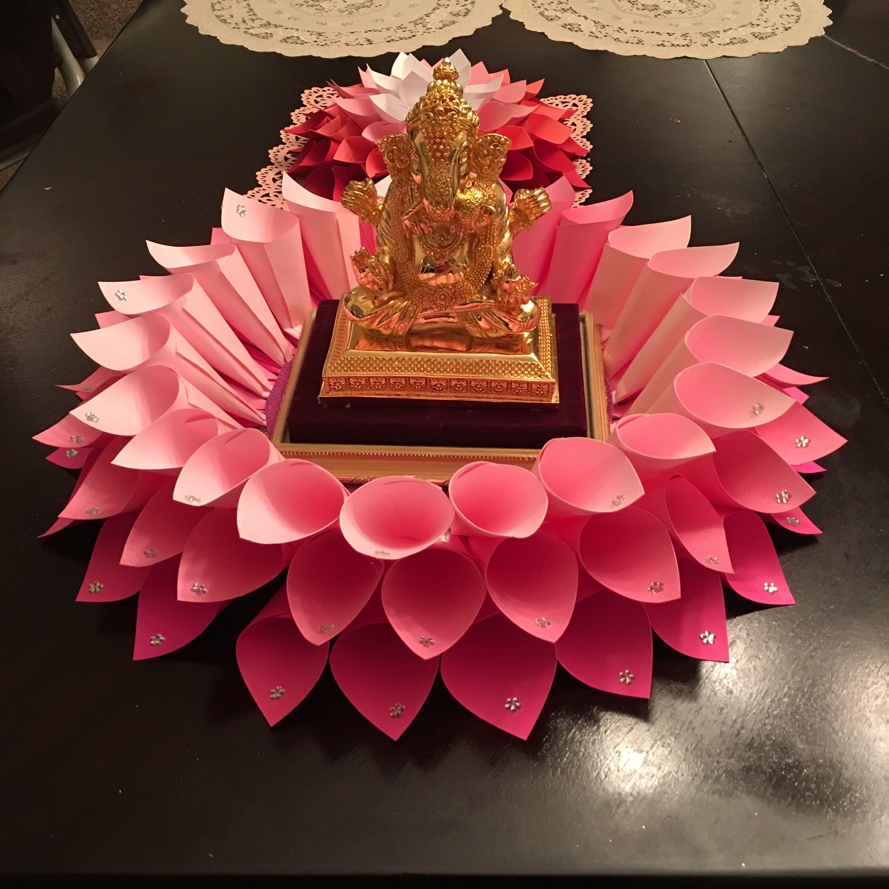 GaneshDecor GiantDahliaflower Ganesh chaturthi decoration