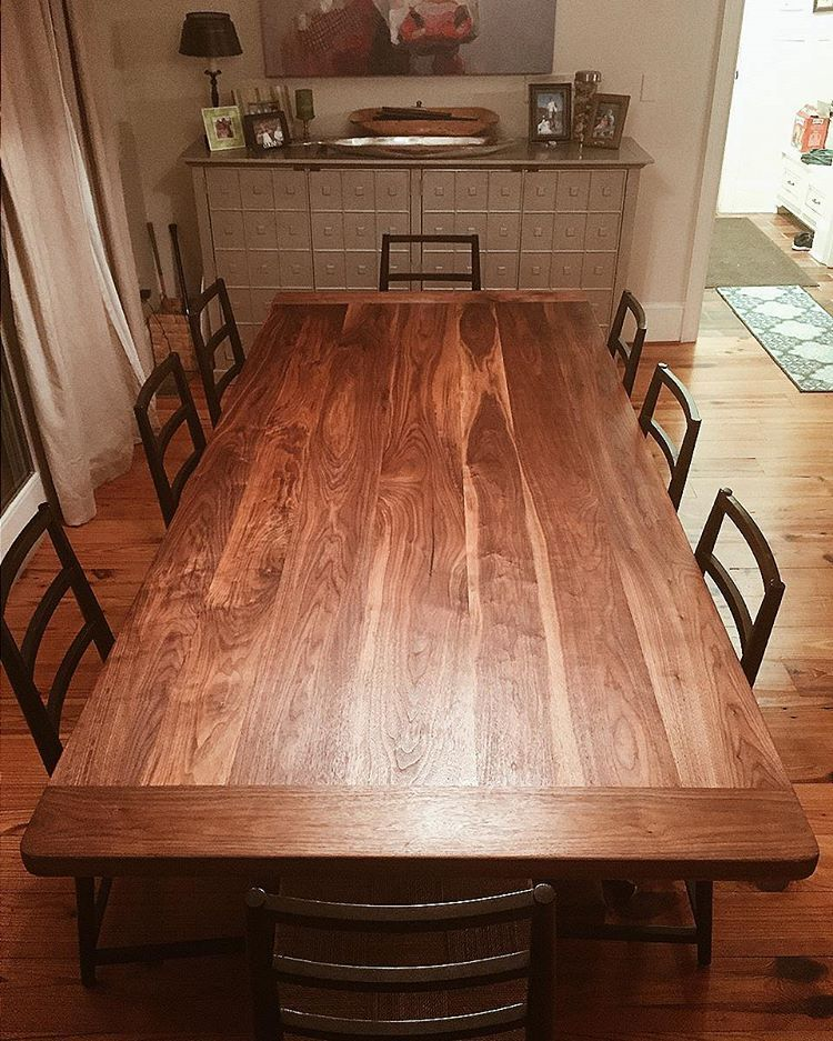Check out this beauty… a walnut dining table finished with
