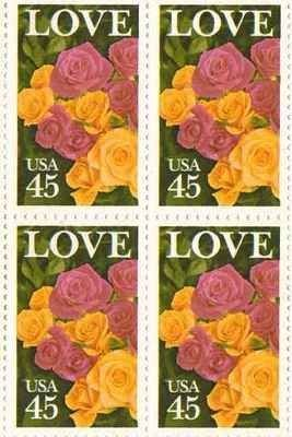 LOVE Roses Set Of 4 X 45 Cent US Postage Stamps NEW Scot 2379 1095