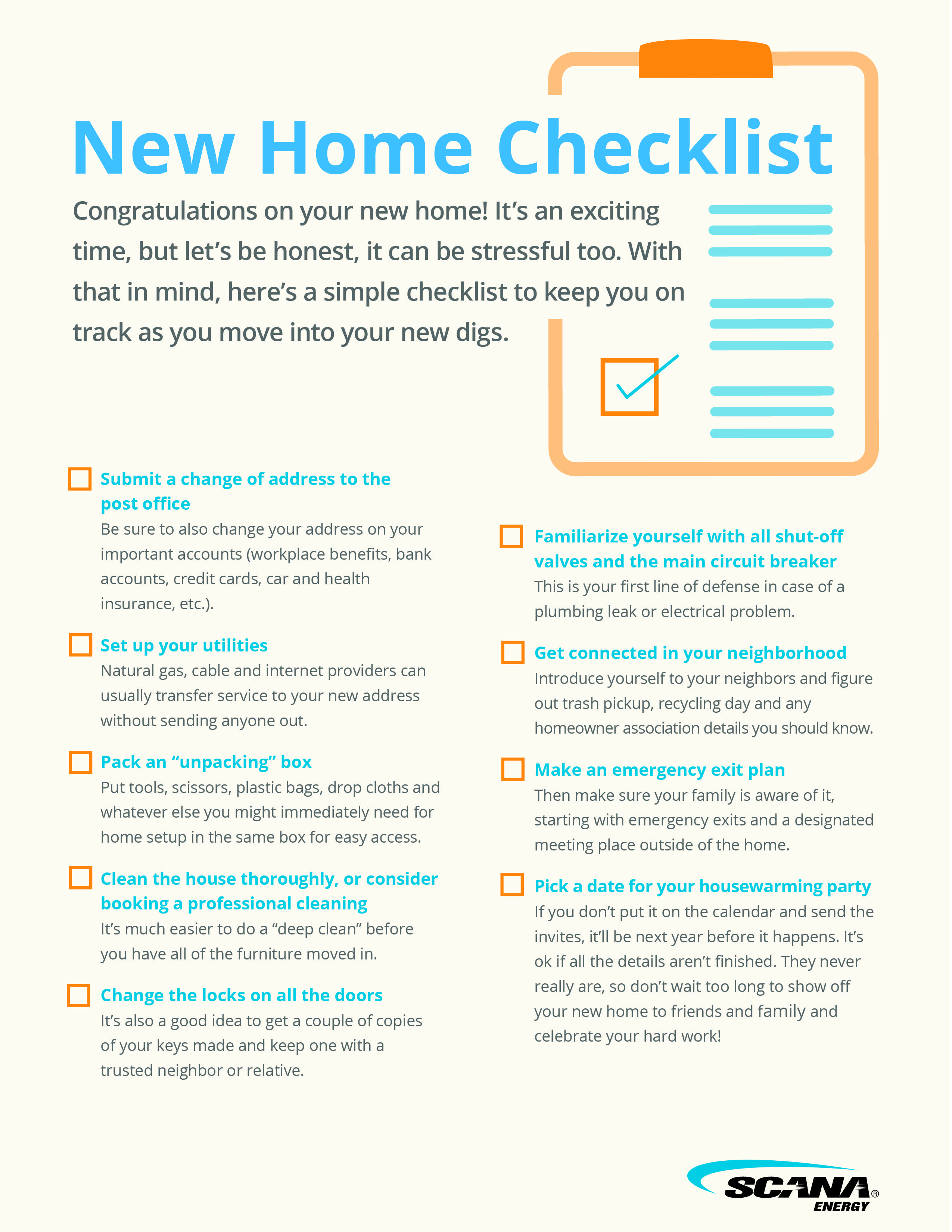 Moving You Need This New Home Checklist Scana Energy S Gaswise Blog New Home Checklist Design Center Tips New Home New Homes