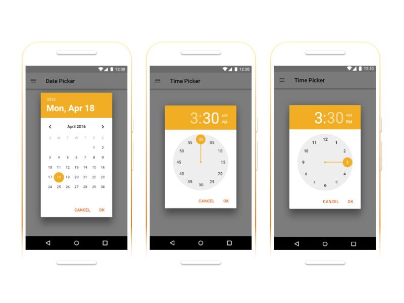 Android Date and Time Pickers Free Sketch App Resources - free resume builder app for android