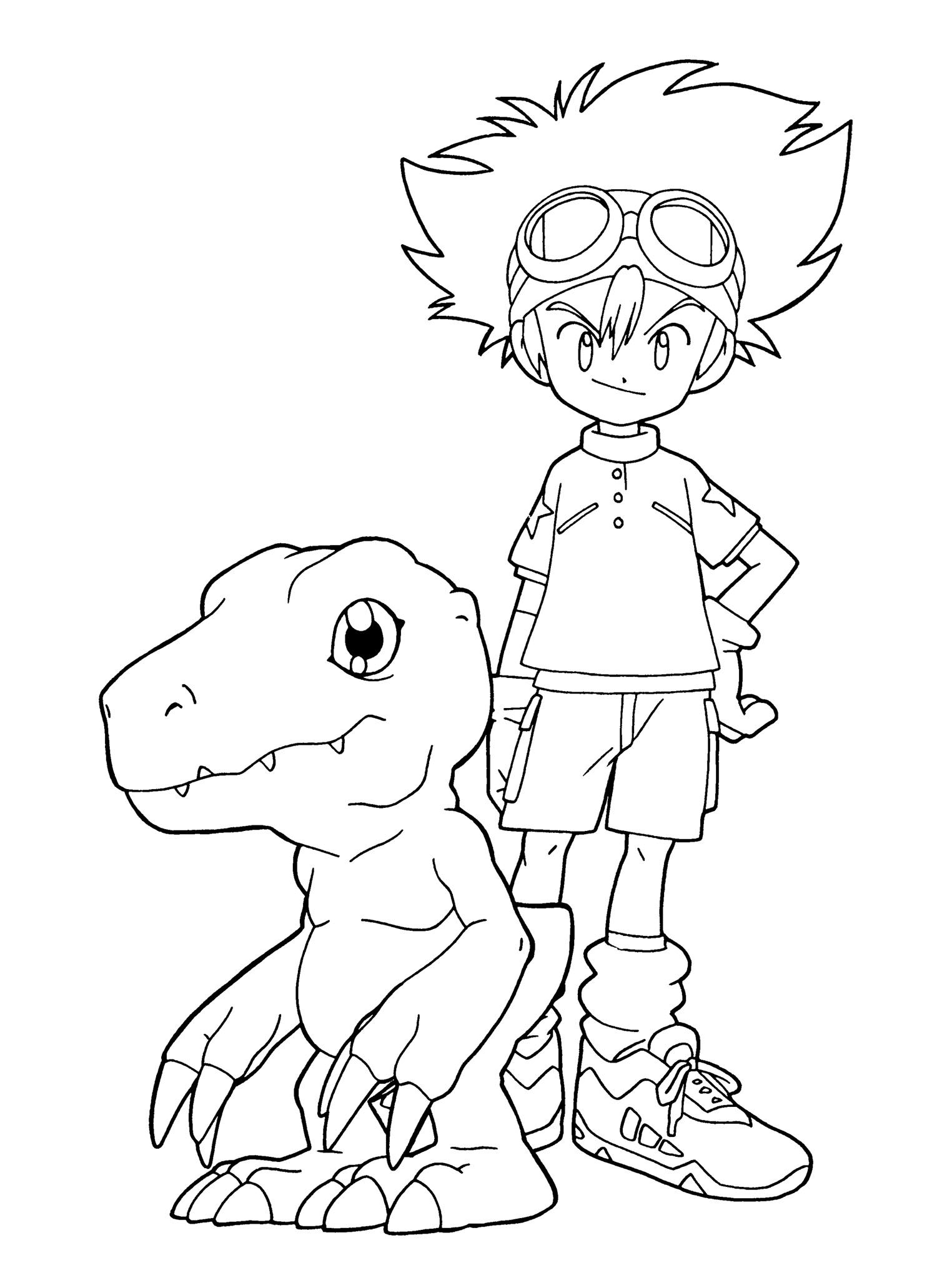 Taichi And Agumon Coloring Page Cute Coloring Pages Coloring