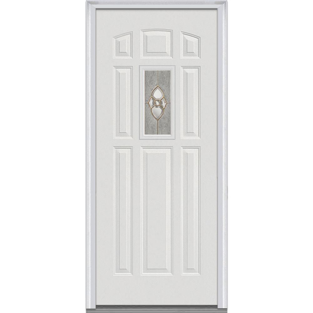 Milliken Millwork 36 In X 80 In Master Nouveau Decorative Glass 1 4 Lite 8 Panel Primed White Majestic Steel Prehung Front Door Products Exterior Doors