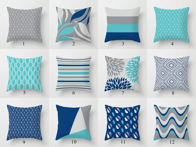 Dark Blue Gray Turquoise Throw Pillow Covers Mix Match Pillow Etsy In 2020 Turquoise Throw Pillows Grey Throw Pillows Throw Pillows