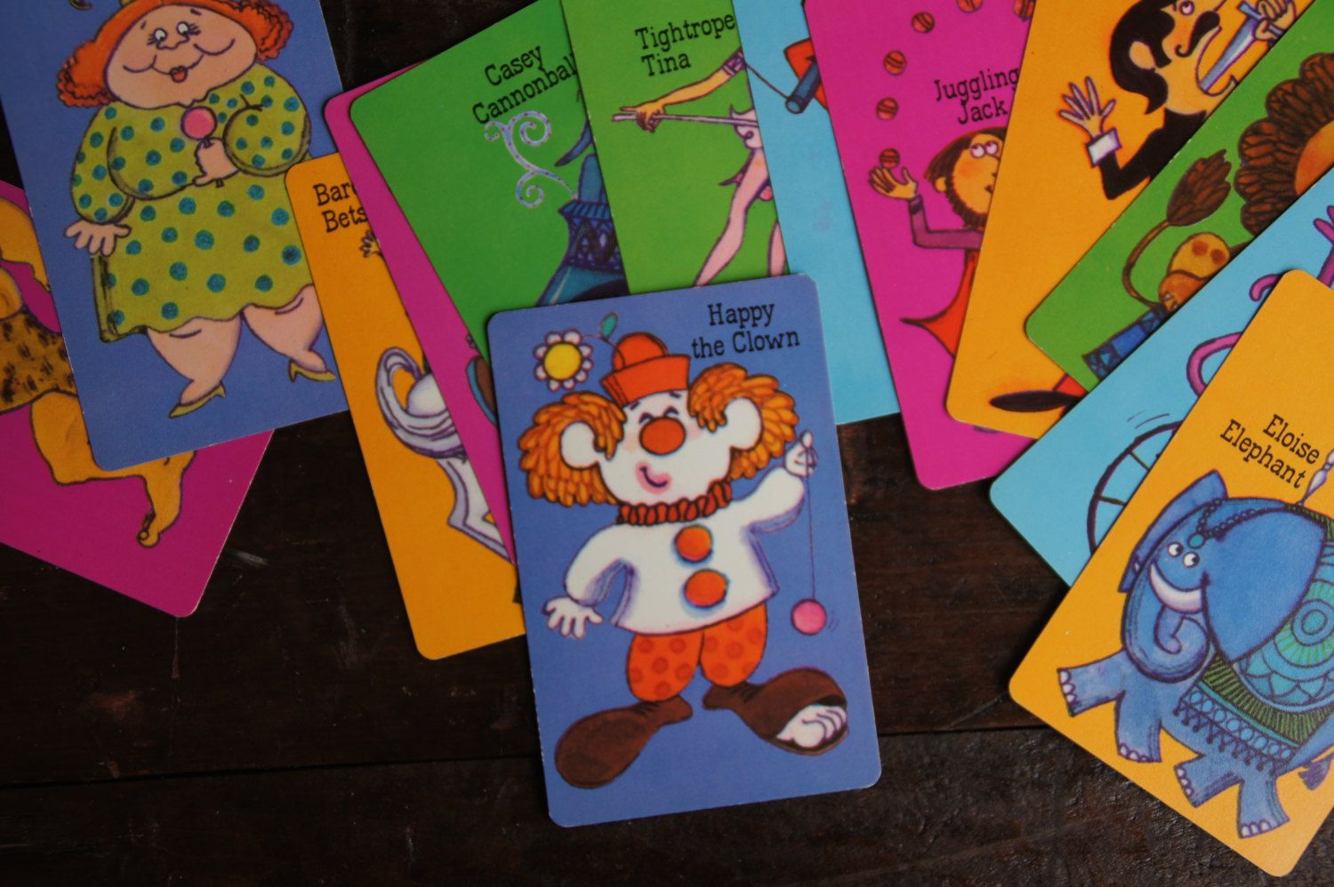 Slap Happy Circus Theme Card Game Vintage Hallmark Set Of 13