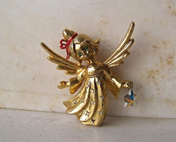 Vintage Angel Brooch Signed Tancer II Designer Costume Jewelry Angel Dangling Star Holiday Jewelry Pin Vintage by cynthiasattic on Etsy & Vintage Angel Brooch Signed Tancer II Designer Costume Jewelry ...