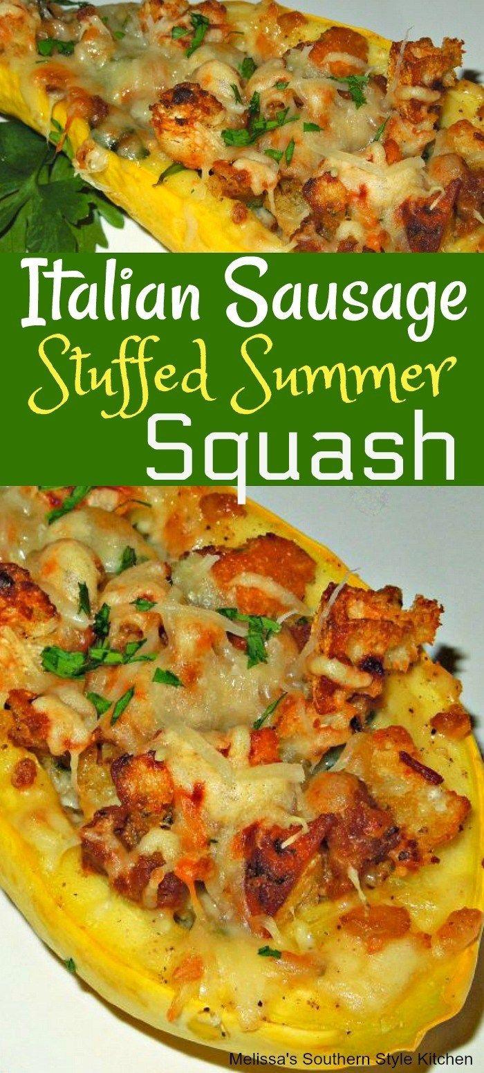 Italian Sausage Stuffed Summer Squash #stuffedspaghettisquash