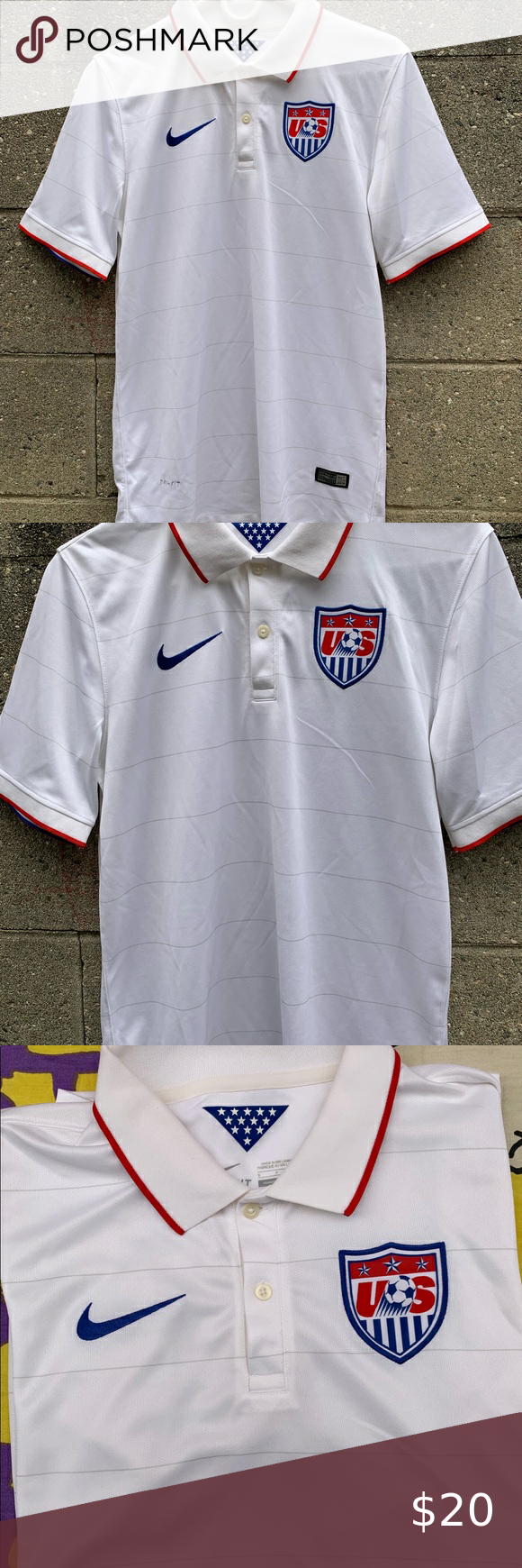 Nike Us Soccer Usa World Cup Jersey Nike Dri Fit Us Soccer Usa World Cup Short Sleeve Polo Collared Shirt Size A In 2020 World Cup Jerseys Polo Collar Shirts Us Soccer