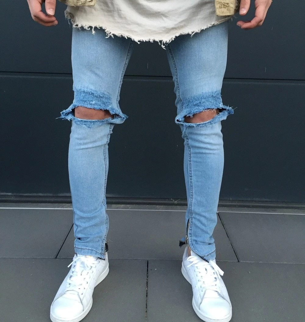Photo of Cool Fashion Men Stretch Knee Destroyed Ripped Jeans Fashion Ankle Zipper Hip Hop Style