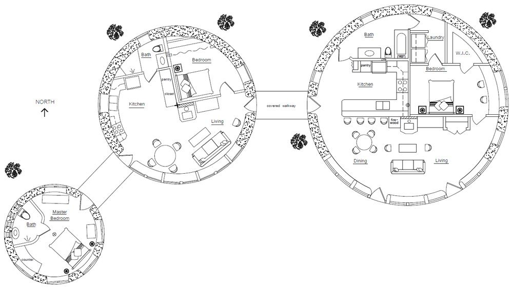 Three Roundhouses Design Cluster House House Plans And
