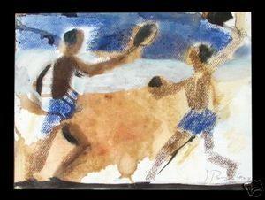 Ignacio Burgos - Chicos Jugando en la Playa - Painting