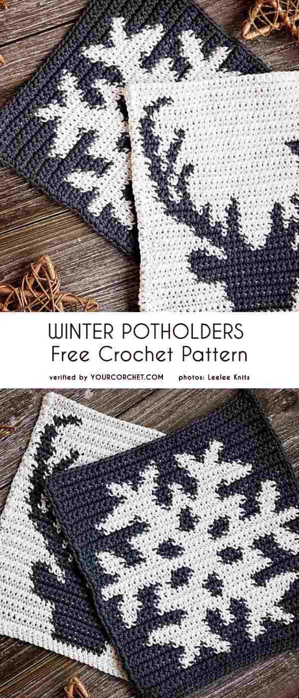 This new pattern published by Leelee Knits will be your favorite if you dont like a festive colors White and gray or maybe white and black Winter Potholders with a snowfl...