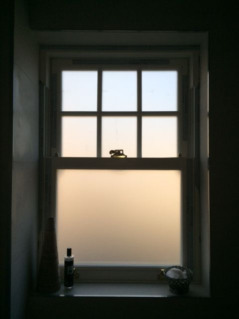 Sliding Sash Bathroom Window With Georgian Bar And Frosted Glass