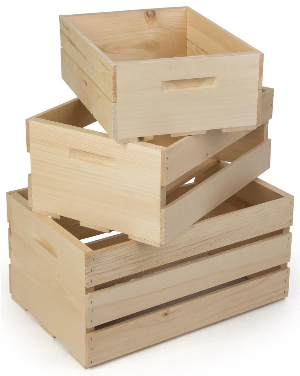 Wooden Crate Dump Bins Set Of 3 Nesting Natural Retail Display Crates Wooden Crates