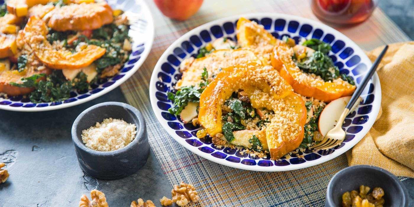 Kale Parmesan Salad With Roasted Acorn Squash Apple Recipe