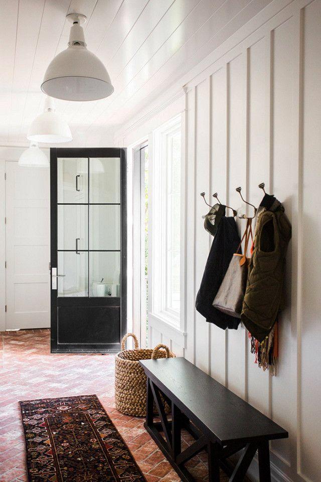 Herringbone Brick Floor Mudroom Hooks Board Batten Walls Shiplap On Ceiling Home Decor Mudroom Great Rooms