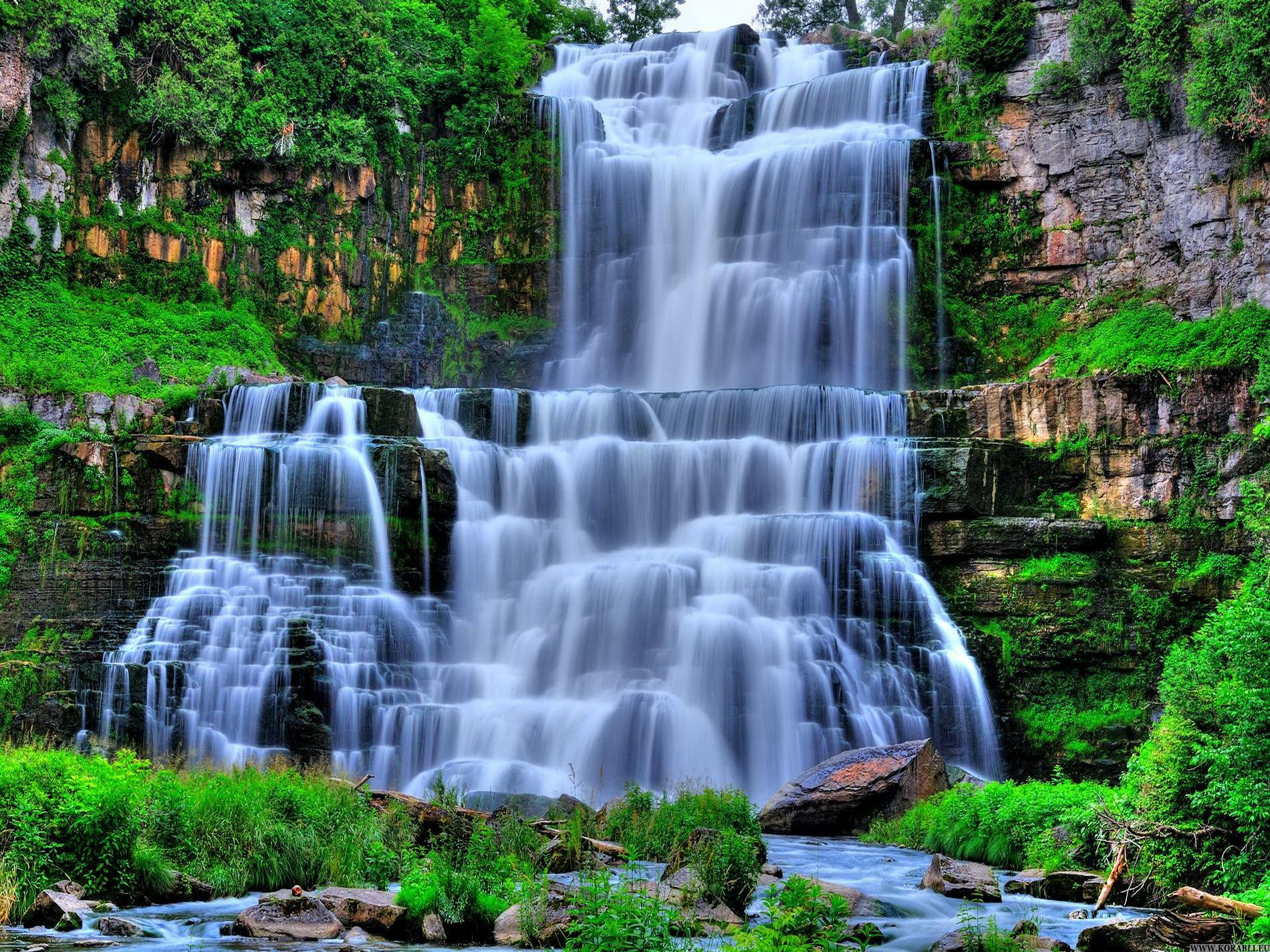 Beautiful Mountain Waterfalls Bing Images Waterfall Scenery Waterfall Wallpaper Waterfall Pictures