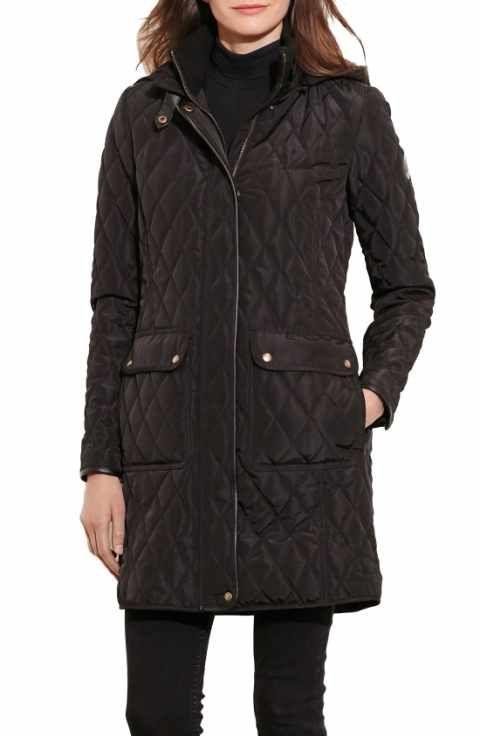 Lauren Ralph Lauren Diamond Quilted Coat With Faux Leather Trim Regular Petite Quilted Coat Women Quilted Coat Coat
