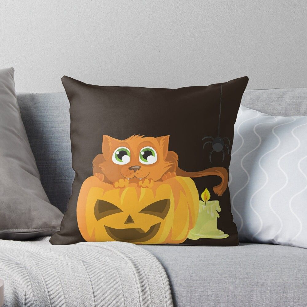 'Ginger Kitten In A Pumpkin' Throw Pillow by Zerasu #gingerkitten