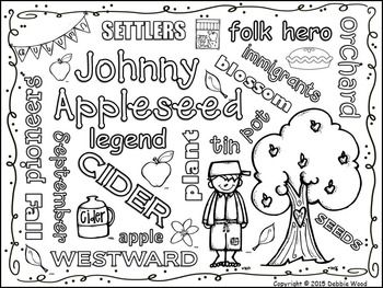 Johnny Appleseed Vocabulary Word Art Freebie New Vocabulary Words Vocabulary Words Vocabulary Lessons