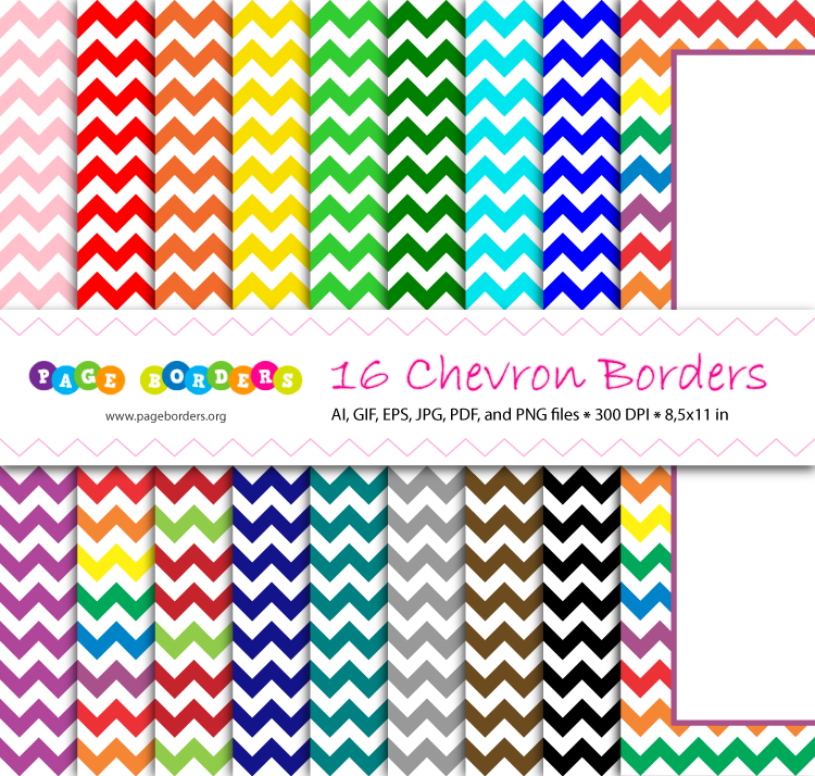 Bundle of chevron page borders in 16 different colors Get it at