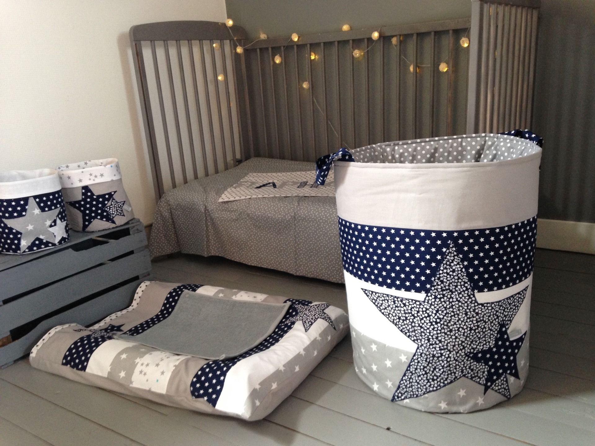 Sac A Jouets Linge Etoiles Bleu Marine Gris Blanc Chambre D
