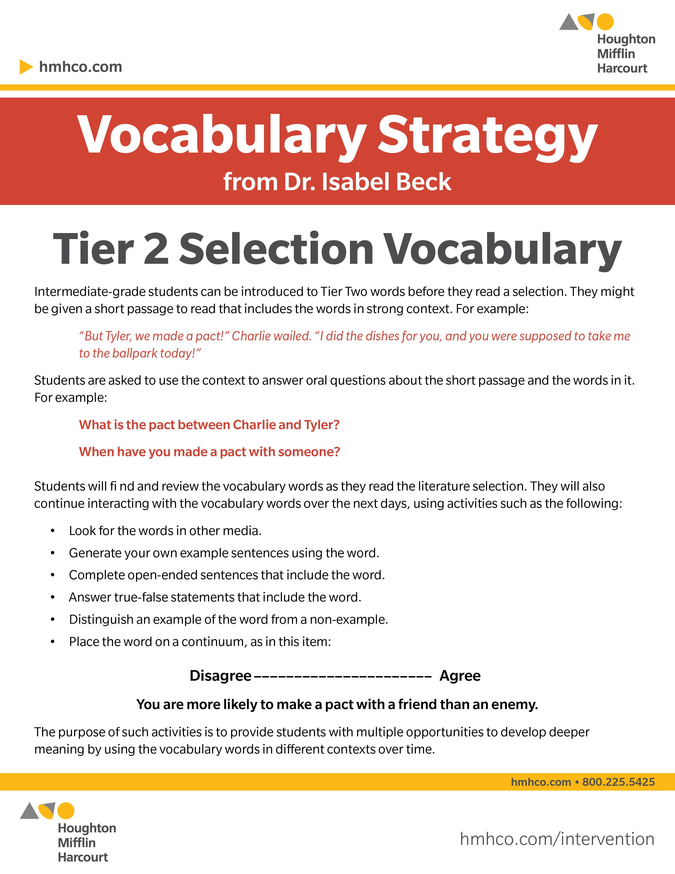 Vocabulary Strategy: Introducing Tier Two selection vocabulary