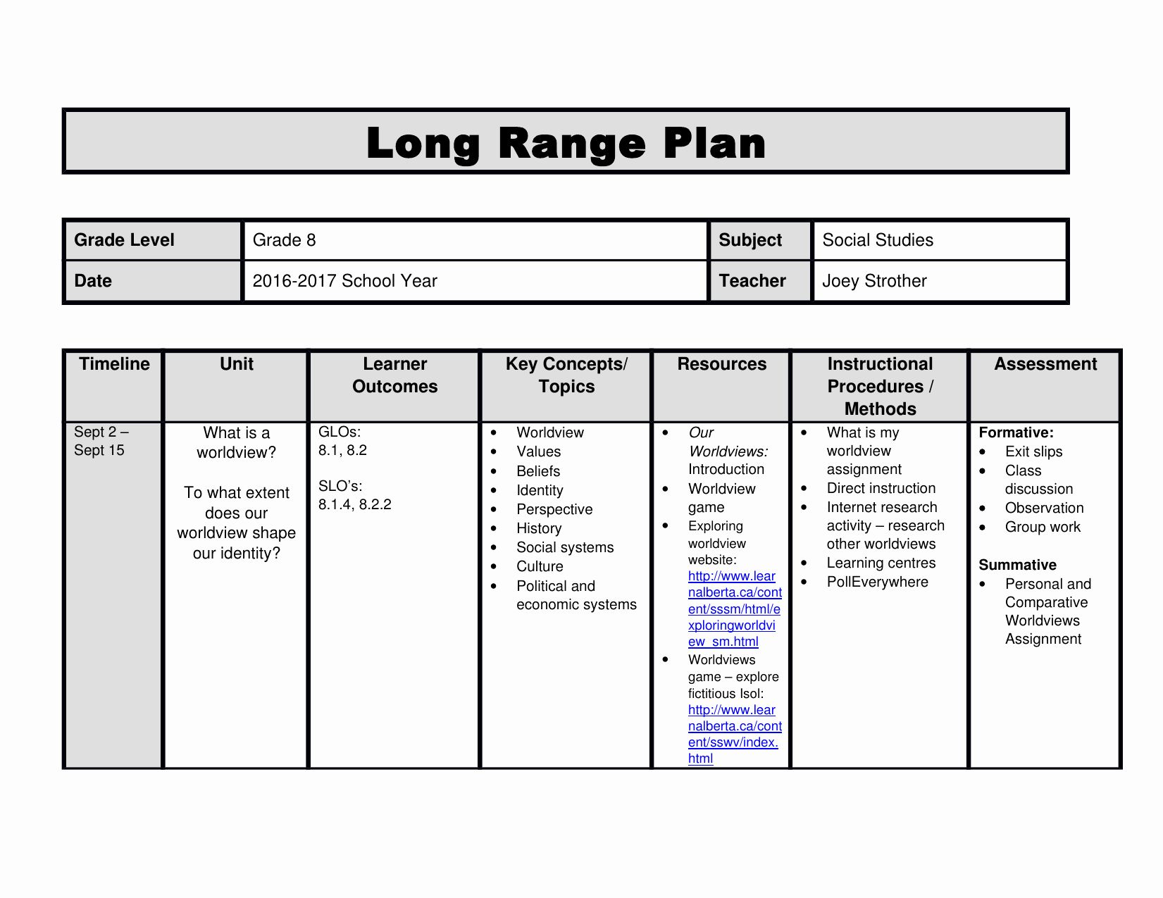 30 Long Term Plan Template in 2020 Lesson plan templates