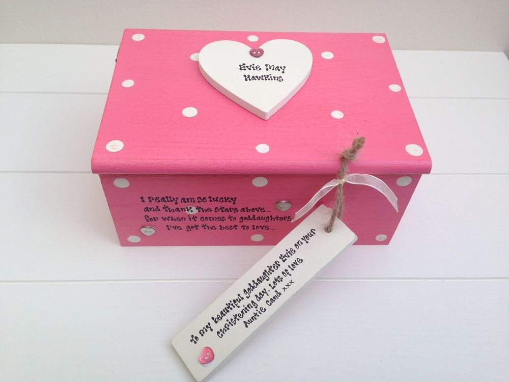 Shabby Personalised Chic Jewellery Box Christening God Daughter