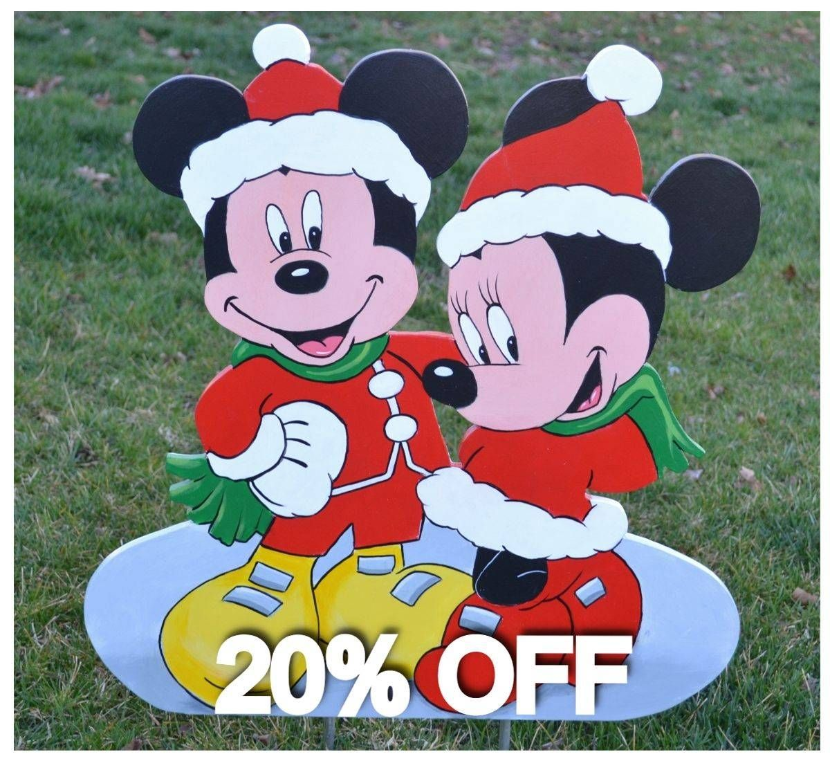 cool mickey mouse minnie mouse at christmas garden stake yard stake decorations check jpg 1200x1100 cool - Mickey Mouse Outdoor Christmas Decorations
