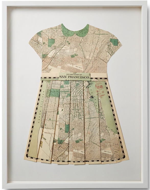 Folded paper map dress. Love the looks of this.