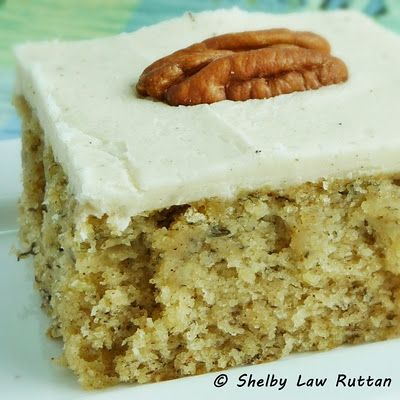 Banana Cake with Browned Butter Maple Frosting #cake #maple #banana