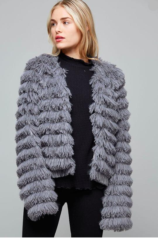 5dcd8c29aa0d parker  short faux fur fringe jacket in 2019