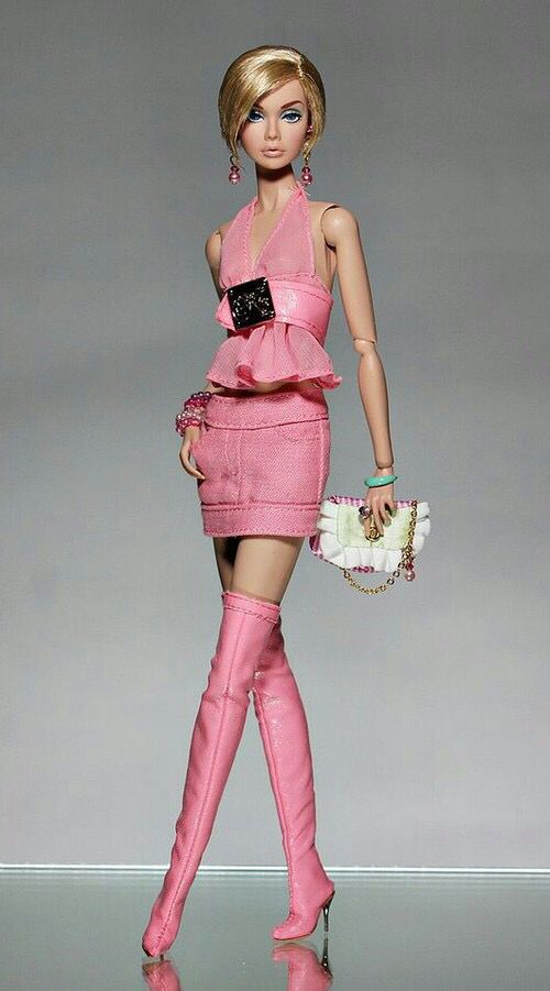 PINK PATENT LEATHER mini skirt  for Barbie doll