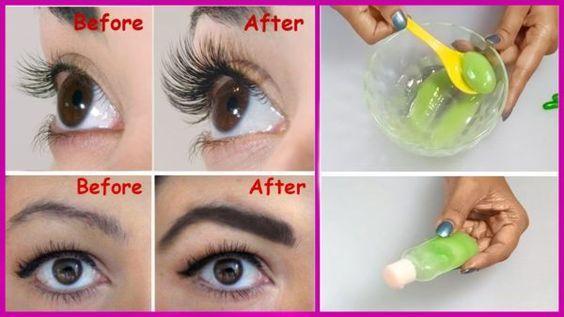 Eyelash serum diy 1 teaspoon aloe vera gel 2 teaspoons castor oil 2 vitsmin e capsules Mix well..apply before bed...wash off in the morning