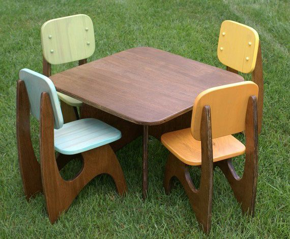 Modern Child Table Set 4 Chair Option By JesseLeeDesigns On Etsy   Playroom