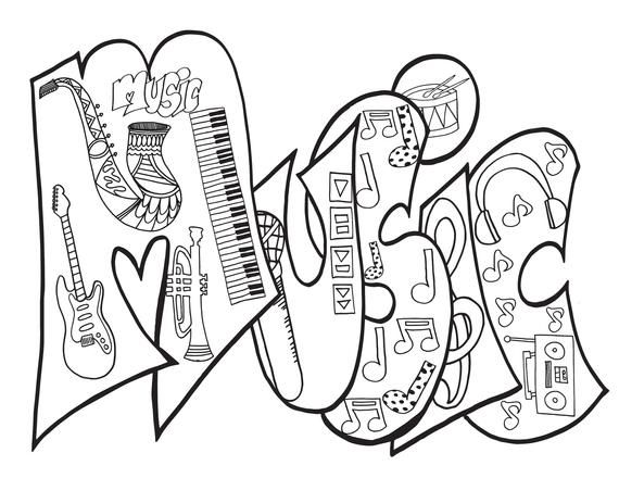 Personalized Music Coloring Page Digital Purchase This Item And Include A Note With The Name Or Word You D Love Pdf Music Custom Owl Coloring Pages Coloring Pages Adult Coloring Pages