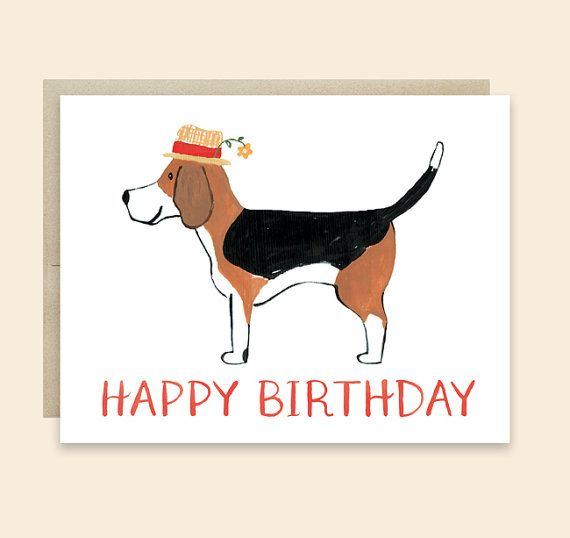 Dog Birthday Card By Leveret Paperie Happy Beagle Lover Cute Illustration
