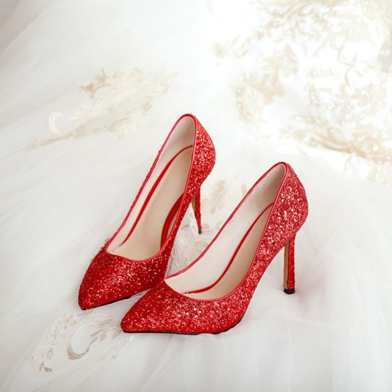 Blyszczace Czerwone Cekiny Buty Slubne 2020 9 Cm Szpilki Szpiczaste Slub Czolenka Stiletto Heels Sequin Heels Wedding Shoes